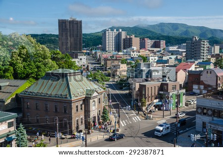 OTARU, JAPAN - JUNE 20, 2015 : Commercial buildings around Otaru city on June 20, 2015. Otaru is a small harbor city, one of the most popular tourist destinations in Hokkaido, Japan.