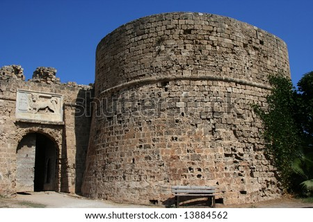 Othello Castle in harbor of Famagusta, Northern Cyprus - stock photo