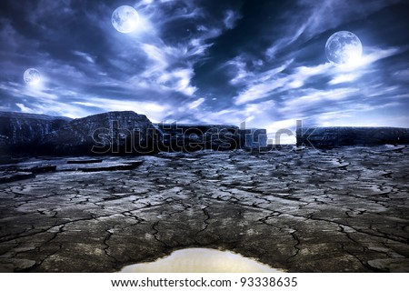 Other planet scenery with three moons - stock photo