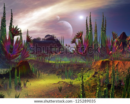 Otherworldly plant life growing on an alien planet in a distant universe. - stock photo