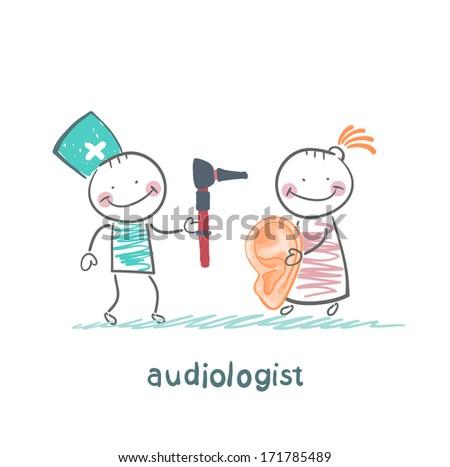 otolaryngologist yells into a megaphone on patient - stock photo