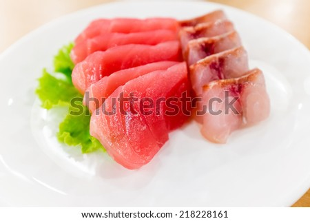 Otoro and Saba fish food Sushi is a Japanese food consisting of cooked vinegared rice combined with other ingredients - stock photo