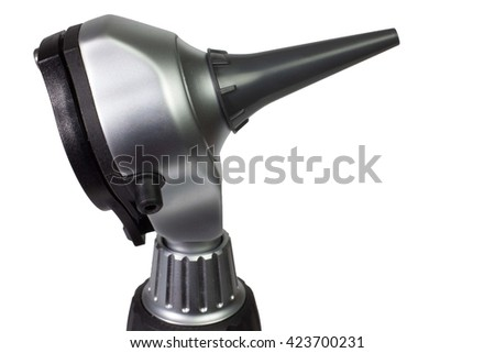 Otoscope head with ear tip on white background - stock photo