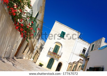 Otranto street in summer, Italy - stock photo