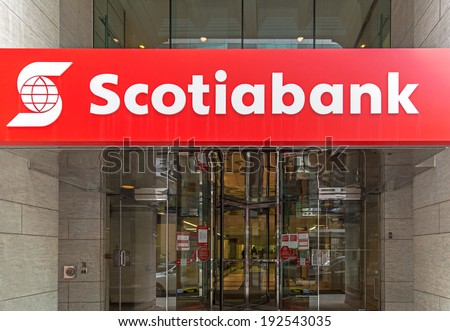 OTTAWA, CANADA - April 17, 2014: A branch of Scotia Bank. Founded in 1832 in Halifax, Nova Scotia, The bank has 83,000 employees and 21 million customers in 55 countries.