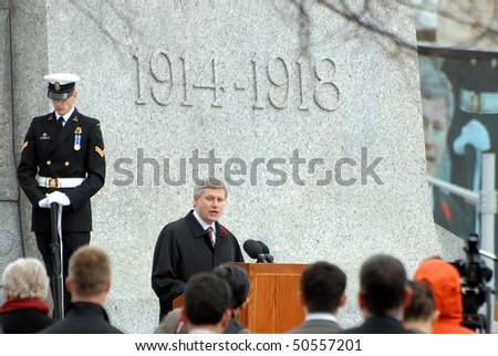 OTTAWA, CANADA - APRIL 9: Prime Minister Stephen Harper gives a speech at the commemorative ceremony to mark Vimy Ridge, the historic WW I battle on April 9, 2010 in Ottawa, Ontario.