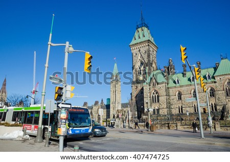 OTTAWA, CANADA - April 15, 2016: Wellington Street and Canadian Parliament in Ottawa. - stock photo