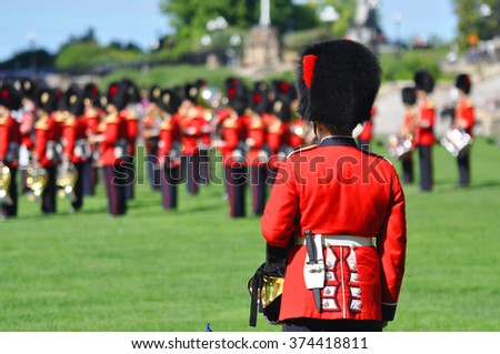 OTTAWA, CANADA - AUGUST 23: The Changing Guard Ceremony takes place at Parliament Hill on August 23, 2011 in Ottawa, Canada. The ceremony is performed in every day in the summer months.