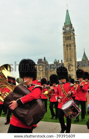 OTTAWA, CANADA - JULY 31: Changing of Guard ceremony outside Canadian Parliament July 31, 2009 in Ottawa, Canada - stock photo