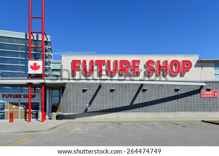 OTTAWA, CANADA- MAR 28, 2015: Canadian electronic store chain established in 1982 and bought by Best Buy in 2001.  Today it announced closure of 66 Future Shop while 65 will become Best Buy stores. - stock photo