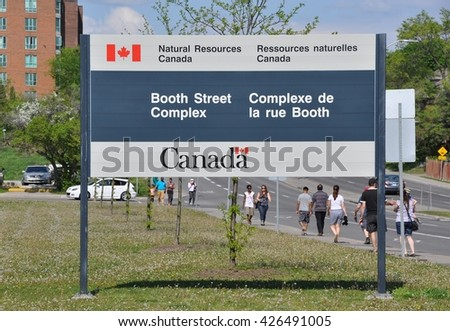 Ottawa, Canada - May 23, 2016: Signboard of Natural Resources Canada office in Booth Street Complex in Ottawa. - stock photo
