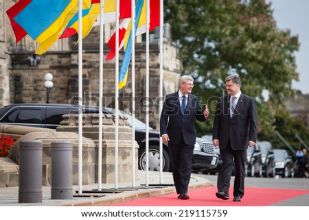OTTAWA, CANADA - Sep 17, 2014: President of Ukraine Petro Poroshenko during an official meeting with Canadian Prime Minister Stephen Harper in Ottawa (Canada)