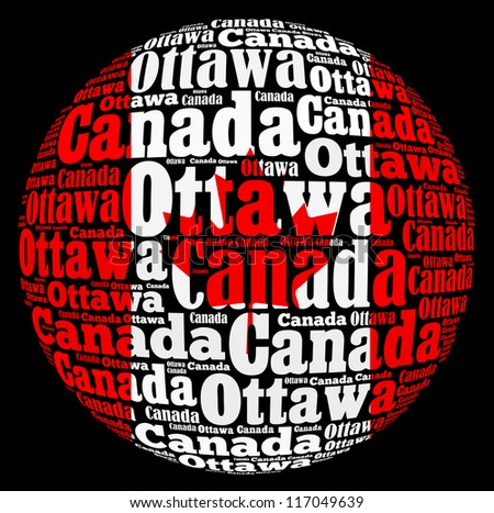 Ottawa capital city of Canada info-text graphics and arrangement concept on black background (word cloud) - stock photo