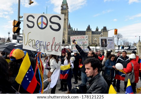 OTTAWA � FEB 22:  Venezuelans gather in front of Parliament Hill to bring attention to the plight of their countrymen who are protesting against the Venezuelan Government Feb 22, 2014 Ottawa, Canada.  - stock photo