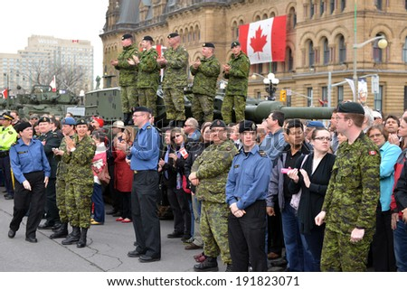 OTTAWA - MAY 9:  Soldiers who served in the Canadian Forces in Afghanistan were honored on Parliament Hill during national Day of Honour May 9, 2014 in Ottawa, Canada - stock photo