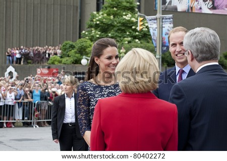 OTTAWA, ONTARIO, CANADA - JUNE 30: The Duke and Duchess of Cambridge, William and Catherine, are greeted by Canada's Prime Minister, Stephen Harper and wife Laureen Harper on June 30, 2011 in Ottawa, Ontario, Canada.  Their first official trip abroad sinc - stock photo