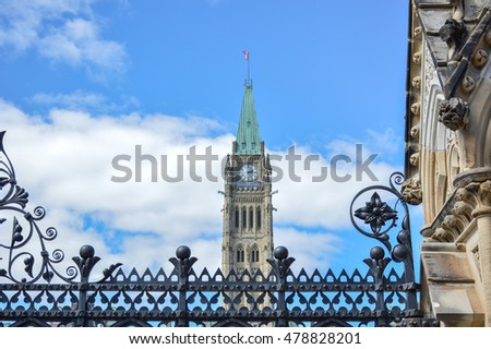 Ottawa Parliament Clock Tower behind the fence (Canada)
