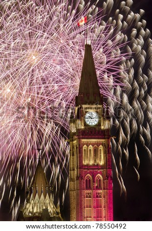 Ottawa Parliament during the fireworks display on Canada Day. - stock photo