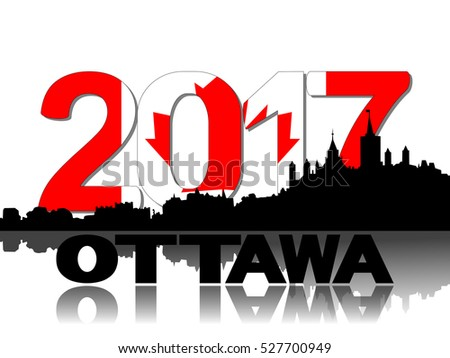 Ottawa skyline 2017 flag text illustration