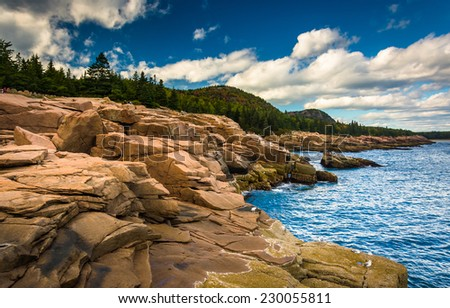 Otter Cliffs and the Atlantic Ocean in Acadia National Park, Maine. - stock photo