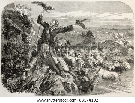 Otter hunt in Scotland, old illustration. Created by Morgan, published on L'Illustration, Journal Universel, Paris, 1860 - stock photo
