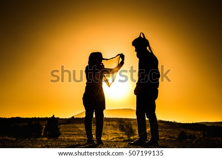 Husband and wife silhouette idea very