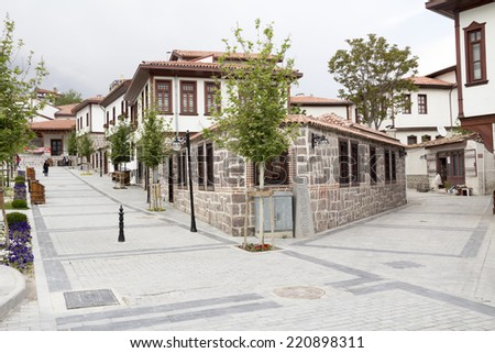 Ottoman style renovated houses in Ankara, Turkey - stock photo