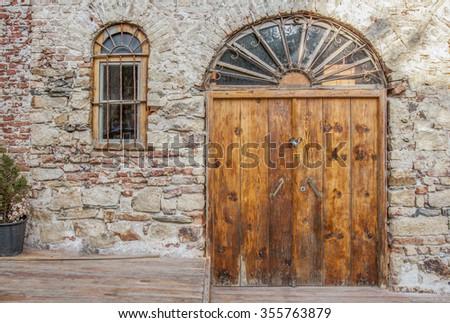 Ottoman style wooden door and window - stock photo