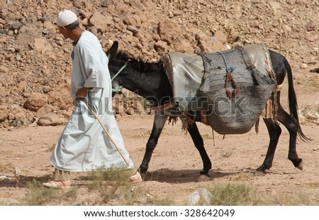 OUARZAZATE, MOROCCO - AUGUST 12: A local Muslim man in traditional dress leading his donkey at the weekly souk outside of Ait Ben Haddou near Ouarzazate, Morocco on the 12th August, 2015.