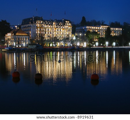 Ouchy waterfront on Lake Geneva, Lausanne, Switzerland at night