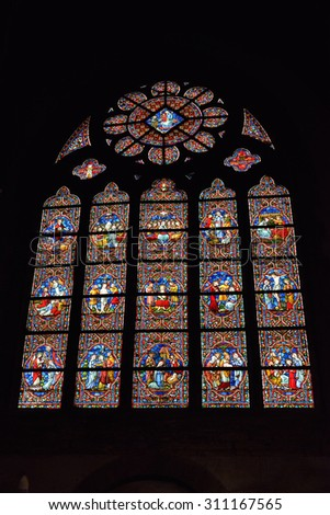 OUDENAARDE, BELGIUM-JUNY 23, 2015: Stained glass window in church Saint Walburga, known from 11 century - stock photo