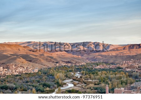 Oued River along Boulmalne Dades valley and High Atlas Mountains at Morocco - stock photo
