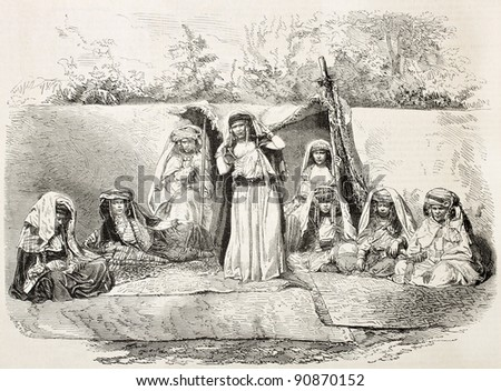 Ouled-Nail women old illustration, Algeria. Created by Janet-Lange after photo of Moulin, published on L'Illustration, Journal Universel, Paris, 1858 - stock photo