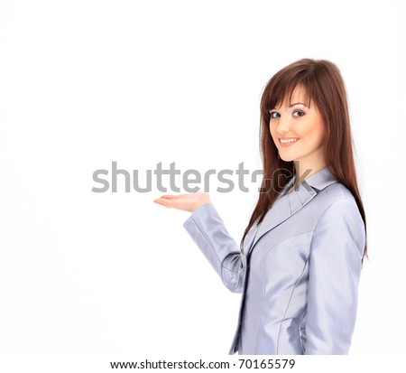 oung businesswoman isolated over white background gesturing an open hand - stock photo
