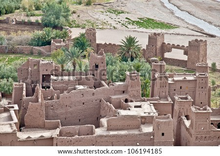 Ounila river as seen from Ait Ben Haddou fortified citadel, Morocco - stock photo