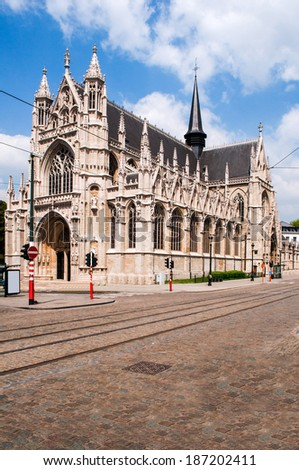 Our Blessed Lady of Zavel Church or Our Blessed Lady of the Sablon Church in Brussels, Belgium. It is characterized by its late Brabantine Gothic exterior and rich interior decoration - stock photo