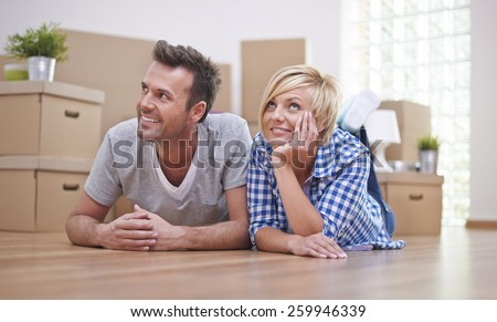Our dreams about new apartment comes true - stock photo