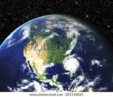 Our earth in cosmos. Elements of this image furnished by NASA - stock photo