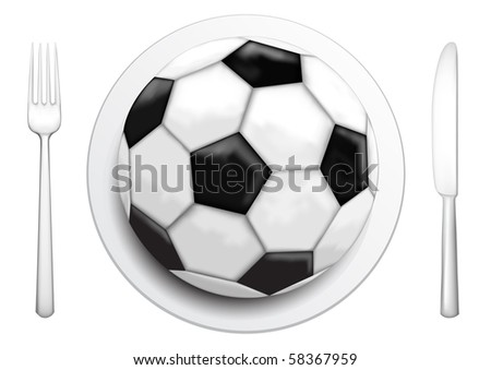 Our food are football, tableware and soccer ball on the white background - stock photo