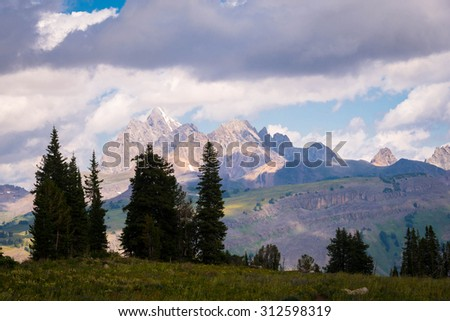 Our hike along death canyon shelf trail in the Grand Teton National Park in Wyoming - stock photo