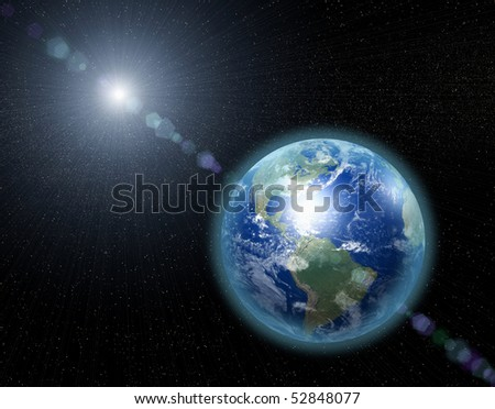 Our home planet in space - stock photo