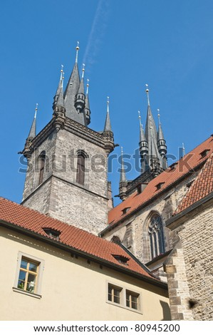 Our Lady Before Tyn church located at the Old Town Square of Prague