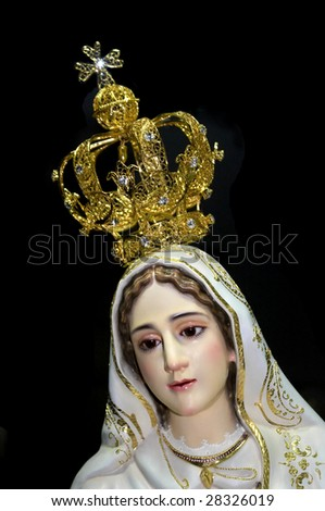 Our lady of Fatima over black background. - stock photo