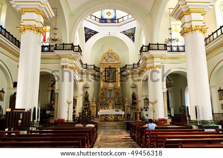 Our Lady of Guadalupe church interior in Puerto Vallarta, Jalisco, Mexico - stock photo