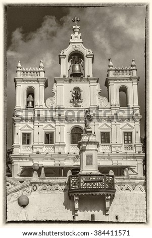 Our Lady of Immaculate Conception Church in Panjim - one of oldest churches in Goa (1540). Panjim (Panaji) - capital of Indian state of Goa and headquarters of North Goa district. Style antique photo. - stock photo