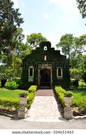 our lady of la leche chapel at mission of nombre de dios st. augustine florida, usa - stock photo
