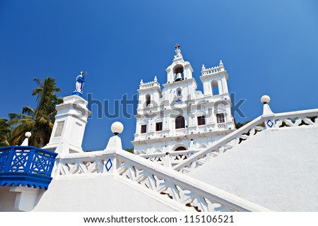 Our Lady of the Immaculate Conception Church, Goa, India - stock photo