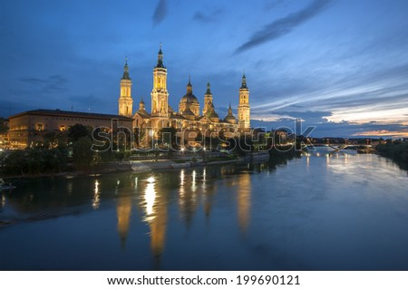Our Lady of the Pillar Basilica in night view.Zaragoza.Spain - stock photo