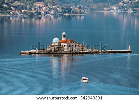 Our Lady of the Rocks islet with church in Bay of Kotor, Montenegro.