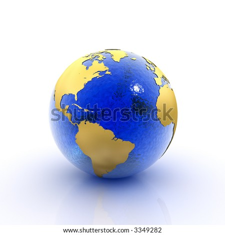 Our planet earth made of blue glass and gold foil (3D rendering) - stock photo
